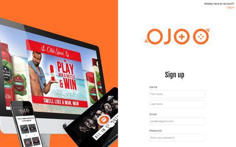 Screenshot of Signup Page ojoo.com - OJOO studios - captured Nov. 7, 2018