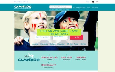 Screenshot of Home Page camperoo.com - Camperoo Marketplace | Unique Camps and Activities -- A Convenient Way to Register - captured July 17, 2014