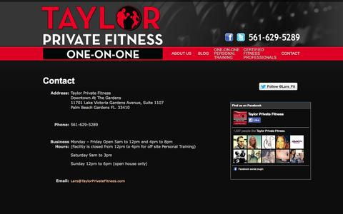 Screenshot of Contact Page taylorprivatefitness.com - Contact Us   Taylor Private Fitness - captured Oct. 1, 2014