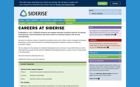 Screenshot of Jobs Page siderise.com - Careers | Contact Siderise - captured Oct. 19, 2018
