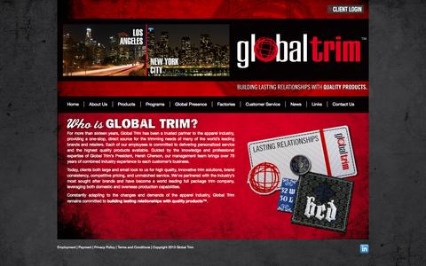 Screenshot of About Page globaltrim.com - About Us | Global Trim - captured Sept. 30, 2014