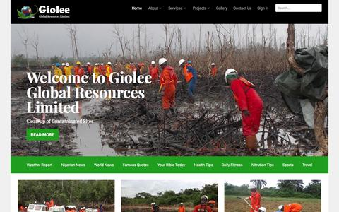 Screenshot of Home Page giolee.com - Giolee Global Resources Limited - Oil Spill Emergency Response | Environmental and Waste Management - captured Jan. 28, 2016