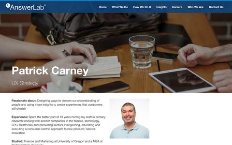 Screenshot of Team Page answerlab.com - Patrick Carney - captured May 21, 2018