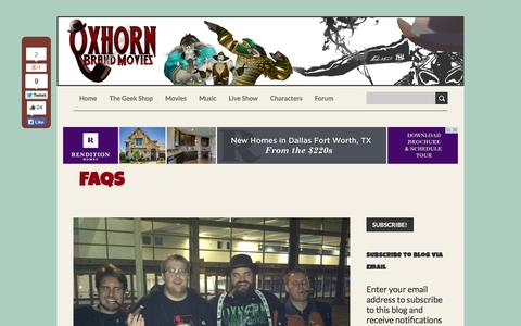 Screenshot of FAQ Page oxhorn.com - Oxhorn Brand Movies - Frequently Asked Questions - captured Oct. 9, 2014