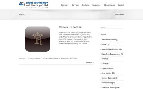 Screenshot of Menu Page cabotsolutions.com - Menu | Cabot Solutions - captured Oct. 10, 2014