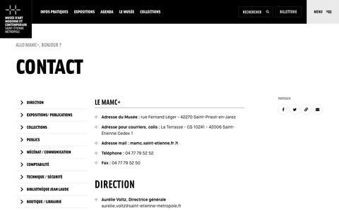 Screenshot of Contact Page saint-etienne.fr - Contact   MAMC, Musée d'art moderne et contemporain, Saint-Étienne Métropole - captured Dec. 5, 2018