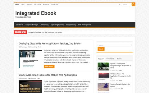 Screenshot of Home Page integratedbook.com - Integrated Ebook - Free ebook download - captured Nov. 26, 2016