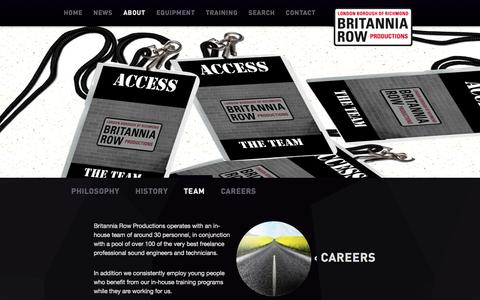 Screenshot of Team Page britanniarow.com - Team | Britannia Row Productions Limited - captured Sept. 30, 2014