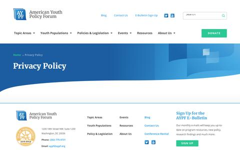 Screenshot of Privacy Page aypf.org - Privacy Policy - American Youth Policy Forum - captured Oct. 3, 2018