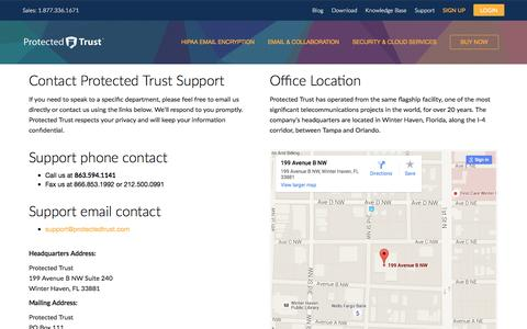 Screenshot of Support Page protectedtrust.com - Contact Support | Protected Trust - captured Jan. 15, 2016