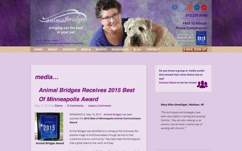 Screenshot of Press Page animalbridges.com - Elaine Garley In the News | Animal Bridges - captured Dec. 25, 2015