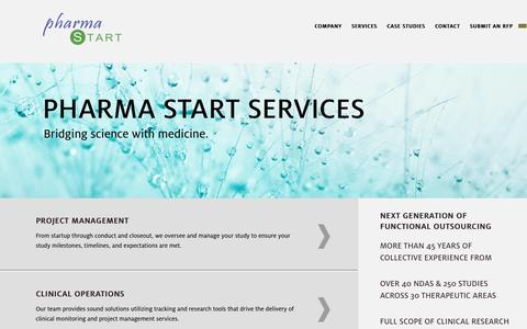 Screenshot of Services Page pharma-start.com - Services | Pharma Start - captured Sept. 29, 2014