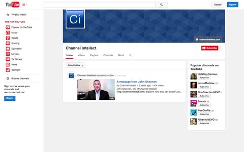 Screenshot of YouTube Page youtube.com - Channel Intellect  - YouTube - captured Oct. 22, 2014