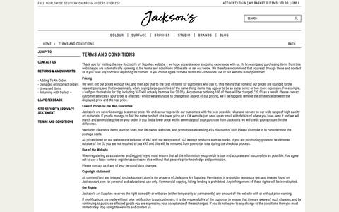 Screenshot of Terms Page jacksonsart.com - Terms and Conditions | Jackson's Art Supplies - captured Oct. 16, 2017