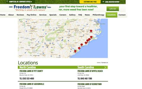 Screenshot of Locations Page freedomlawnsnc.com - Freedom Lawns USA Inc. - Corporate Site - captured Feb. 10, 2016