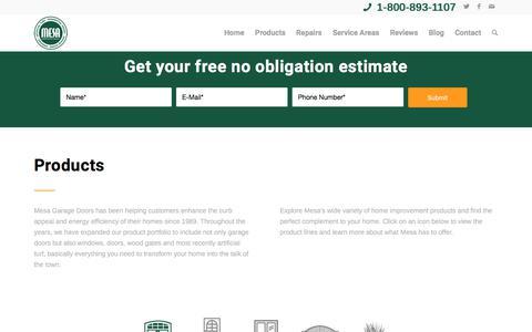 Screenshot of Products Page mesagaragedoors.com - Mesa Garage Doors Products - captured Nov. 18, 2017