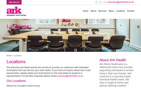 Screenshot of Locations Page arkhealth.co.uk - Locations - Ark Home Healthcare - captured Oct. 4, 2018