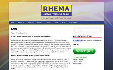 Screenshot of FAQ Page rhema.co.ke - FAQs – Rhema Micro Investment Group - captured Jan. 25, 2017