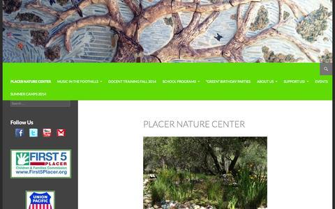 Screenshot of Home Page placernaturecenter.org - Placer Nature Center | Providing Environmental Education since 1991 - captured Sept. 30, 2014