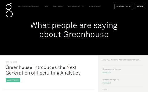 Screenshot of Press Page greenhouse.io captured Nov. 4, 2015