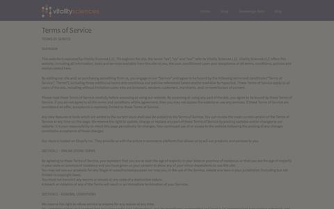Screenshot of Terms Page vitalitysci.com - Terms of Service – Vitality Sciences LLC - captured Oct. 26, 2014