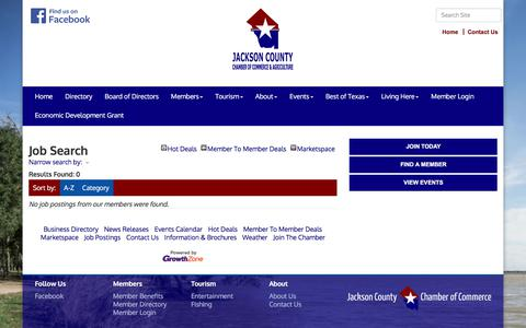 Screenshot of Jobs Page jacksoncountytexas.com - Job Search - Jackson County Chamber of Commerce & Agriculture, TX - captured Feb. 21, 2018