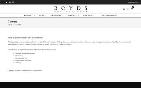 Screenshot of Jobs Page boydsphila.com - Careers                      – Boyds Philadelphia - captured Oct. 7, 2017