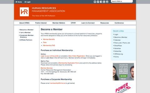 Screenshot of Signup Page hrma.ca - Become a Member - HRMA Human Resources Management Association - captured Dec. 26, 2016