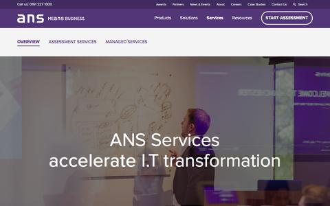 Screenshot of Services Page ans.co.uk - Overview - ANS Means Business - captured Feb. 5, 2016