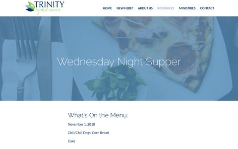 Screenshot of Signup Page tbcnh.org - Wednesday Night Supper | Trinity Baptist Church - captured Oct. 31, 2018