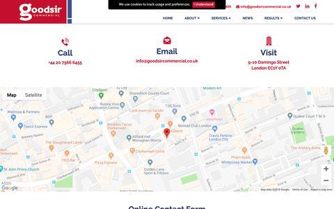 Screenshot of Contact Page goodsircommercial.co.uk - Goodsir Commercial - Contact Us - captured Sept. 29, 2018