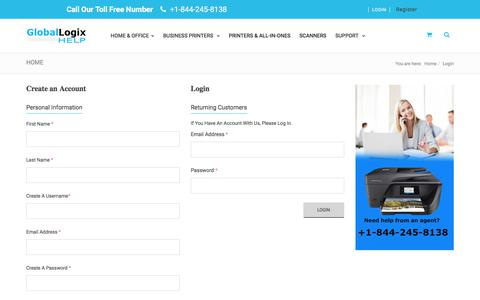 Screenshot of Login Page globallogixhelp.com - HP Printers for Home, Home Office, Small and Large Business - captured July 9, 2018