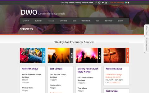 Screenshot of Services Page dwo.org - DWO   » Services - captured July 31, 2016