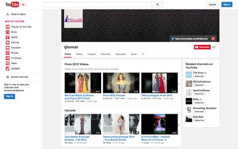 Screenshot of YouTube Page youtube.com - tjformal  - YouTube - captured Oct. 29, 2014