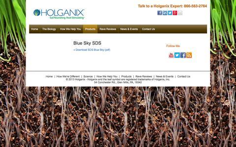 Screenshot of holganix.com - SDShttp://www.holganix.com/products/blue-sky/msds - captured March 19, 2016