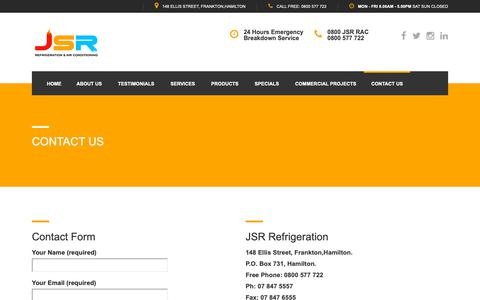 Screenshot of Contact Page jsr.co.nz - Contact Us - JSR Refrigration Hamilton - captured Oct. 2, 2018