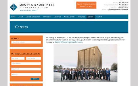 Screenshot of Jobs Page montyramirezlaw.com - Careers - Monty & Ramirez LLP - captured Oct. 19, 2018