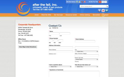 Screenshot of Contact Page afterthefallinc.com - After The Fall, Inc. :: Contact Us :: Located in Woodbridge, VA - captured Oct. 4, 2014