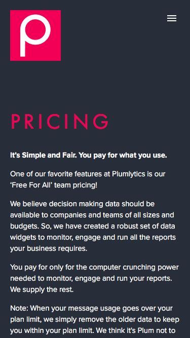 Screenshot of Pricing Page  plumlytics.com - PRICING — Plumlytics  |  Social Media Management