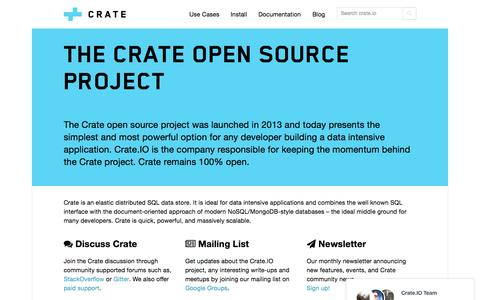 Screenshot of Support Page crate.io - Community Support   Crate.IO - captured Nov. 23, 2015