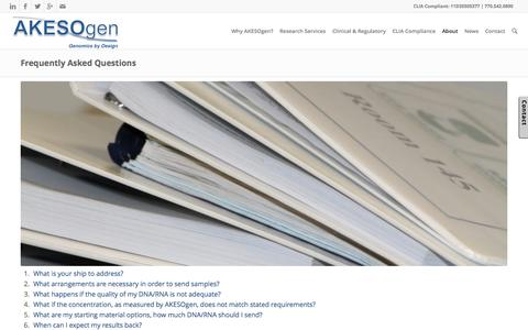Screenshot of FAQ Page akesogen.com - Frequently Asked Questions for Akesogen | - captured Nov. 5, 2015