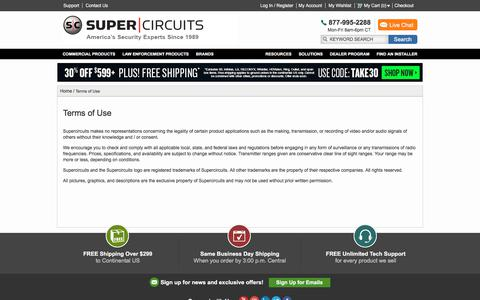 Screenshot of Terms Page supercircuits.com - Terms of Use - captured Jan. 22, 2020