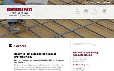 Screenshot of Jobs Page groundeng.com - Careers   Ground Engineering - captured Sept. 26, 2018