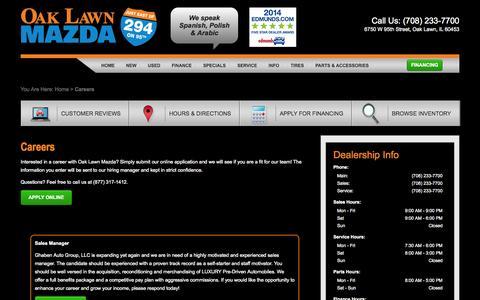 Screenshot of Jobs Page oaklawnmazda.com - Mazda Dealership Automotive Jobs Oak Lawn | Oak Lawn Mazda - captured Oct. 29, 2014