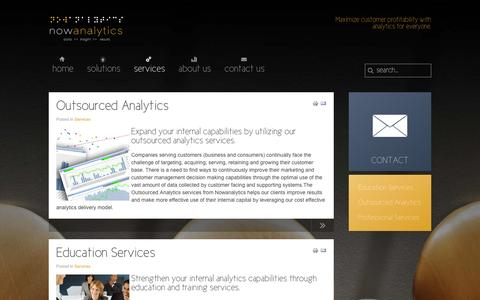 Screenshot of Services Page nowanalytics.com - services - captured Oct. 1, 2014