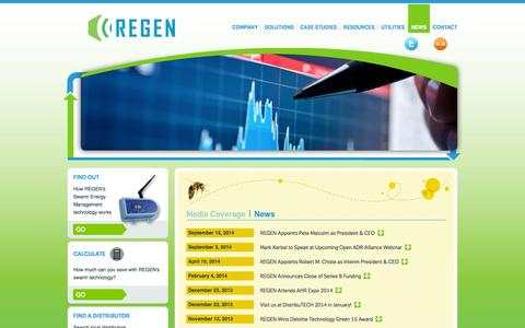 Screenshot of Press Page regenenergy.com - News | REGEN Energy Inc. - captured Sept. 17, 2014