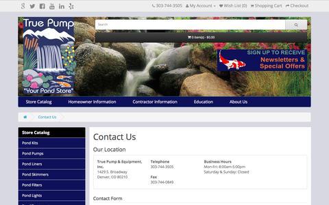 Screenshot of Contact Page truepump.com - Contact Us - captured Nov. 14, 2017