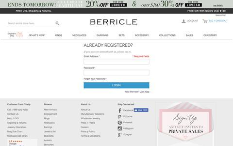 Screenshot of Login Page berricle.com - Customer Login - captured April 22, 2018