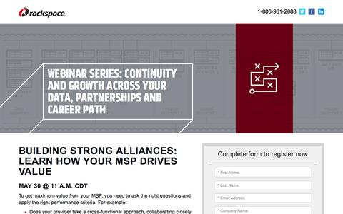 Screenshot of Landing Page rackspace.com - Building Strong Alliances: Learn How Your MSP Drives Value - captured May 22, 2018