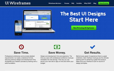 Screenshot of Home Page uiwireframes.com - User Interface Wireframe Design Service | UI Wireframes - captured Sept. 30, 2014